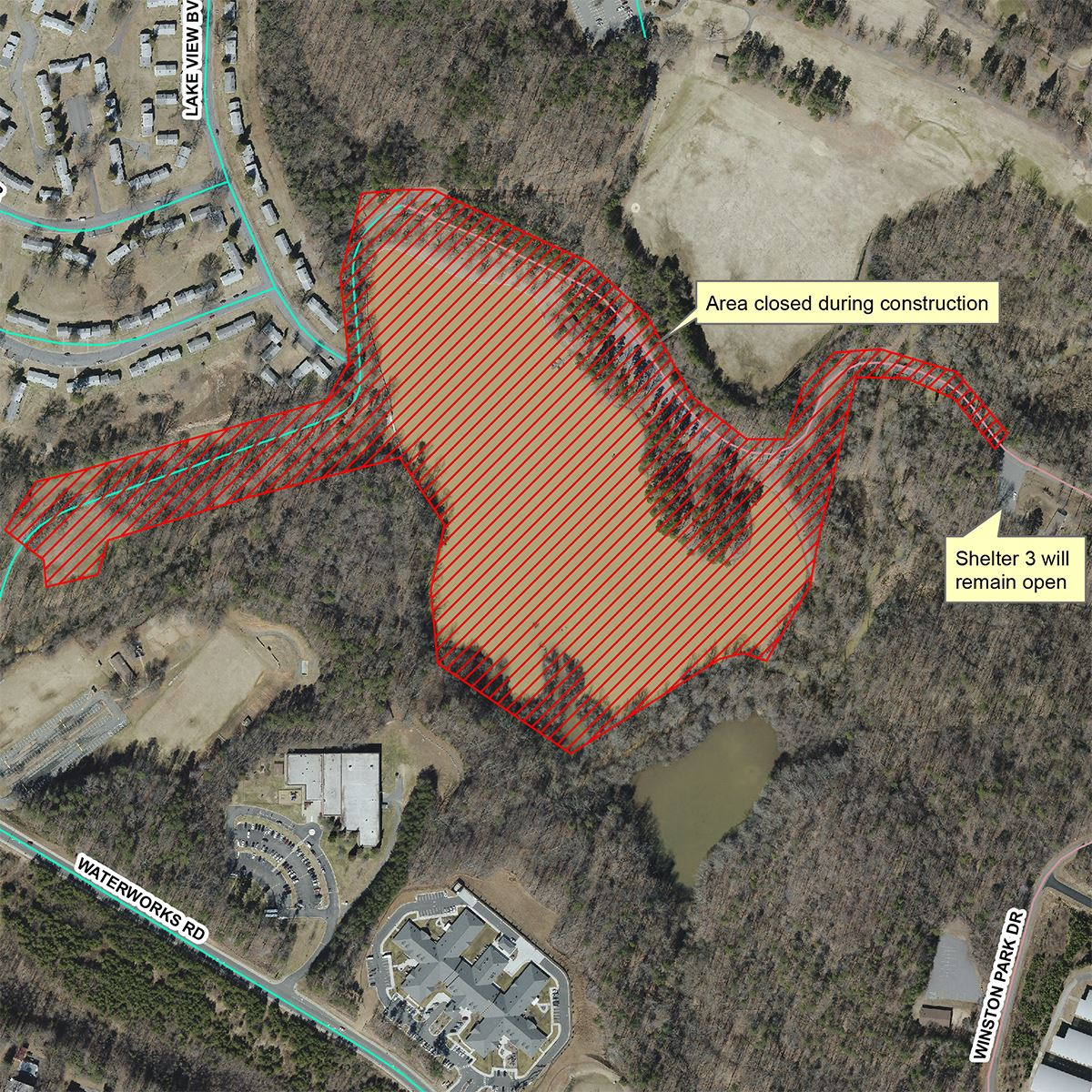 Map of Winston Lake closures during Phase 2 work