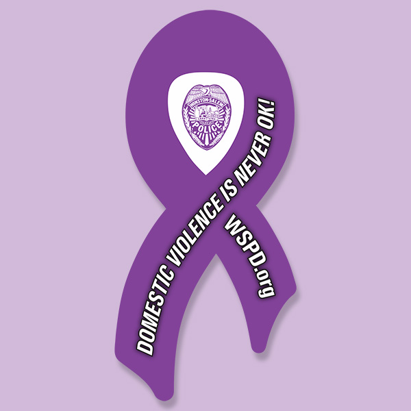 Domestic Violence Awareness Ribbon with Police Badge