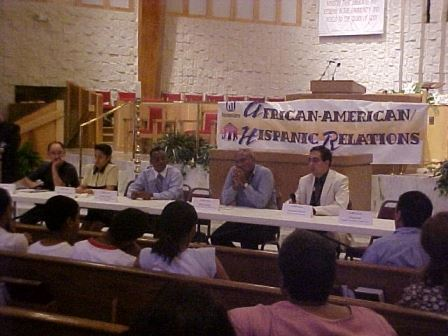Panel at Forum Four at the Emmanuel Baptist Church (JPG) Opens in new window