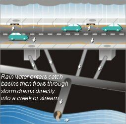 Storm Sewer Diagram - Rain Water Enters Catch Basins the Flows Through Storm Drains Directly into a